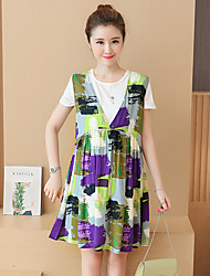 Maternity Casual/Daily Simple Loose Dress,Plaid V Neck Above Knee Sleeveless Multi-color Polyester Summer
