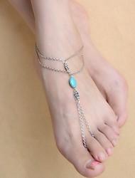 Femme Bracelet de cheville/Bracelet Plaqué argent Turquoise Alliage Original Sculpté Gland Bohême Mode Simple Style Forme de Fleur Bijoux