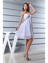 Cocktail Party Dress Sheath / Column One Shoulder Short / Mini Chiffon with Beading