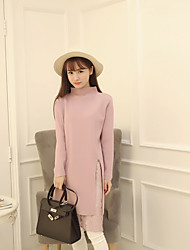 New Korean female half turtleneck shirt bottoming hedging long section of lace stitching knit dress slit