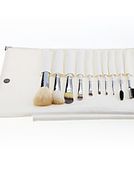 10 Makeup Brushes Set Goat Hair Professional / Full Coverage / Portable Wood Face / Eye / Lip With Cosmetic Bag