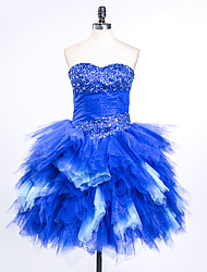 Cocktail Party Dress Ball Gown Sweetheart Short / Mini Satin / Tulle with Beading / Pleats