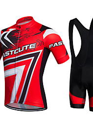 Cycling Jersey with Bib Shorts Men's Unisex Short Sleeve Bike Bib Tights Jersey Clothing SuitsQuick Dry Front Zipper Wearable Breathable