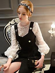 ocasional camisa do vintage das mulheres dabuwawa / formal, em torno do pescoço de manga comprida sólido branco