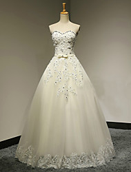 A-line Wedding Dress Lacy Look Floor-length Sweetheart Tulle with Appliques Beading Crystal Ruffle
