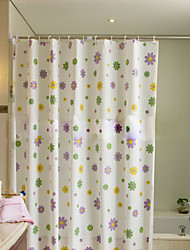 Vogue Thicken Waterproof Colorful Flower Bathroom Shower Curtain PEVA Bath