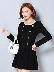Women's Work Sexy Little Black Dress,Solid Round Neck Mini Long Sleeve Black Cotton Fall / Winter