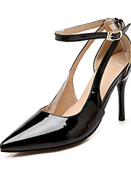 Women's Buckle Pointed Closed Toe Spikes Stilettos Patent Leather Pumps-Shoes