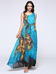 Women's Beach Plus Size / Chiffon / Skater Dress,Animal Print Round Neck Maxi Sleeveless Green Spandex Spring