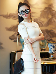 Boutique S  Women's Going out / Formal Cute Sweater Dress,Solid Round Neck Above Knee Short Sleeve White Others Spring