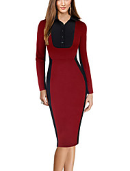 Women's Work Bodycon DressPrint Round Neck Knee-length Red Fall Mid Rise