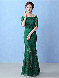 Formal Evening Dress A-line Bateau Floor-length Lace with Lace
