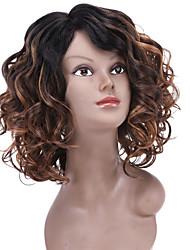 Mujer Pelucas sintéticas Sin Tapa Medio Rizado Marrón Pelo Ombre Pelo reflectante/balayage negro peluca Peluca de Halloween Peluca de