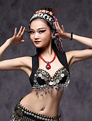 Belly Dance Tops Women's Performance Cotton / Polyester / Metal Coins / Tassel 1 Piece Black / White Tribal Tops