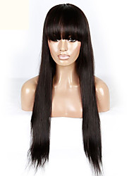 Top Quality Brazilian Virgin Human Hair Silky Straight Lace Front Wigs With Bangs For Black Women