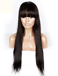 brésilienne vierge de cheveux humains soyeux avant de lacet perruques droites de qualité supérieure avec une frange pour les femmes noires