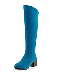 Mujer-Tacón Robusto-Tacones / Botas a la Moda-Botas-Exterior / Oficina y Trabajo / Casual-Semicuero-Negro / Azul / Rojo