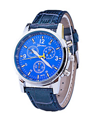 Men's Dress Watch / Swiss Designer Quartz Leather Band Casual Black Blue Brown