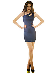 Women's Party/Cocktail Plus Size / Sexy / Vintage / Cute Dress,Solid Above Knee Sleeveless Blue Spandex All Seasons
