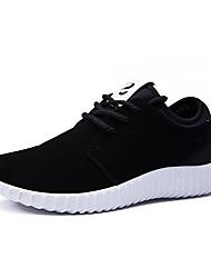 Femme-Décontracté-Noir / Noir et rouge-Talon Plat-Bout Arrondi / Styles-Sneakers-Microfibre