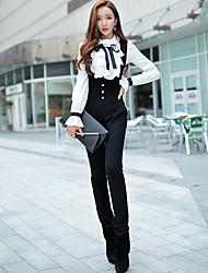 dabuwawa Frauen solide schwarze dünne Hosen, Straße chic / Punk& Gothic / anspruchsvoll