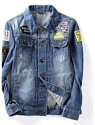 Men's Fashion Slim Embroidery Single Breasted Denim Jacket,Cotton / Polyester Solid Blue