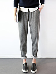 Women's Striped Black / Gray Harem Pants,Simple