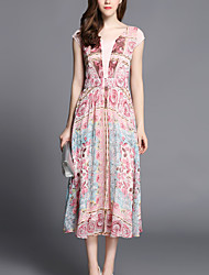 Boutique S Going out /Daily / Holiday Sexy / Simple / Cute Sheath Dress,Floral Strapless Maxi Sleeveless Pink Silk