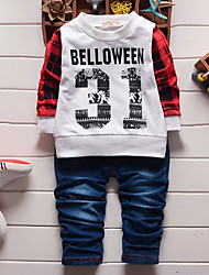 Boy's Cotton Spring/Autumn Fashion Print Patchwork Casual Plaid Shirt And Pants Sport Suit Two-piece Set