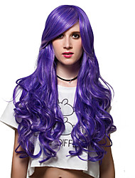 Purple streaked long curly hair, and nightclub fashion wigs.