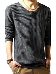 Men's Casual/Daily Simple Regular Pullover,Solid Black Gray Round Neck Long Sleeve Wool Spring Fall Medium Micro-elastic