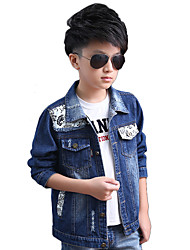 Boy's Cotton Spring/Autumn Fashion Patchwork Leather Cowboy Outerwear Long Sleeve Sport Denim Jacket Coat