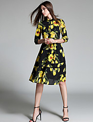 Women's Going out Simple A Line Dress,Print Stand Knee-length ½ Length Sleeve Black Polyester Fall