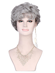 Grey Color Curly Women Fashion European and American Synthetic Wigs