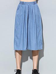 Mulheres Calças Simples Jeans / Perna larga Poliéster Sem Elasticidade Mulheres