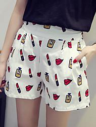 Mulheres Calças Simples Shorts Linho Micro-Elástica Mulheres