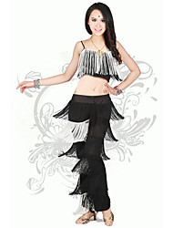 Latin Dance Outfits Women's Performance Spandex Tassel(s) 2 Pieces Latin Dance Sleeveless Natural Top / Pants