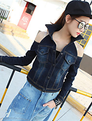 Women's Casual/Daily Simple Summer Denim Jackets,Solid Shirt Collar Long Sleeve Blue Cotton Medium