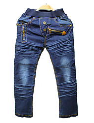 Boy's Cotton Spring/Autumn Fashion Solid Color Denim Jeans