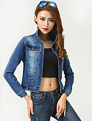 Women's Casual/Daily Street chic Fall Slim Thin Short Denim Jackets,Solid Shirt Collar Long Sleeve Blue Cotton Medium