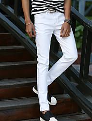 Men's Solid Casual JeansCotton White