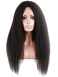 evawigs средняя часть у Kinky прямая бразильские виргинские человеческие волосы Remy фронта шнурка необработанный черный цвет