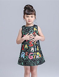 KIMOCAT Girl's Casual/Daily Print Dress,Cotton Spring / Fall Blue / Green / Red