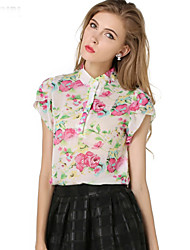 Women's Casual/Daily Simple / Street chic Summer Blouse,Floral Round Neck Short Sleeve White Polyester Thin