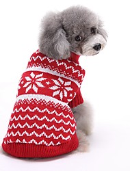 Cat Dog Sweater Dog Clothes Winter Spring/Fall Stripe Cute Christmas New Year's Red Blue