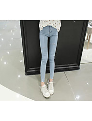 Women's Solid Blue / White / Black Jeans Pants,Simple