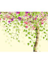 Non-woven Large Mural Wallpaper Cartoon Colorful Flowers and Tree Art Wall Decor Wall Paper