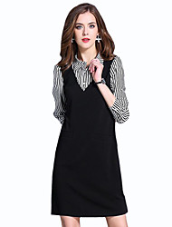 Women's Plus Size / Casual/Daily  Dress,Patchwork Shirt Collar Above Knee Long Sleeve Black Cotton Spring / FallMid