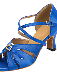 Satin Women's Latin / Ballroom Dance Shoes Salsa Sandals Rhinestone Customized Heel Professional / Indoor Black / Blue