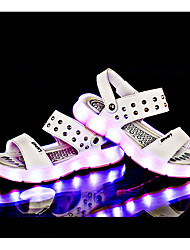 LED Light Up Shoes, Girls' Shoes Casual PU Sandals Spring / Fall Comfort Flat Heel Others Black / Blue / Brown / White